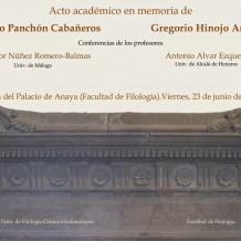 Acto Académico en memoria de los profs. Gregorio Hinojo y Federico Panchón