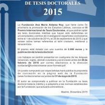 VI Premio Internacional Ana María Aldama Roy de Tesis Doctorales 2015